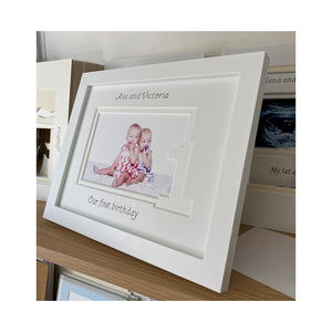 Personalised Sisters Twin first birthday frame