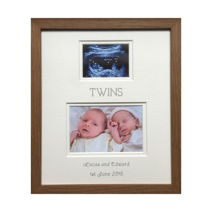 Personalised Twin Scan Picture Frame 12 x 10 Oak