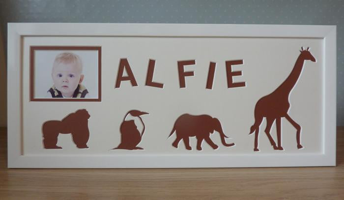 Personalised Name Photo Frame Zoo Animals 20 x 8