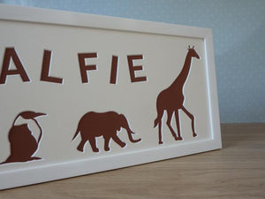 Zoo Animals photo frame - Brown