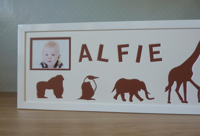 Zoo Animals Personalised Photo Frame  - White
