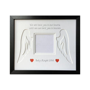 Baby Loss Angel Wings Heart - Black Frame