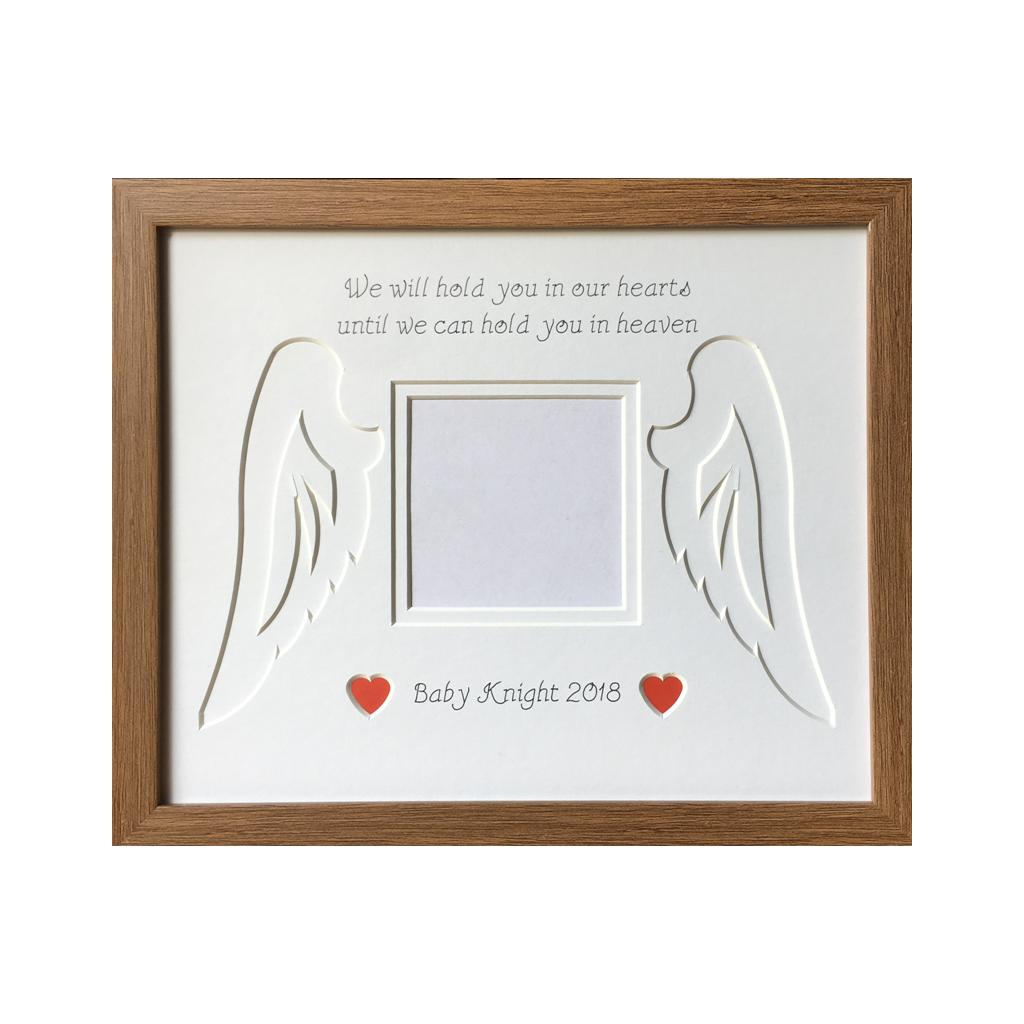 Baby Loss Angel Wings Heart - Dark Oak Frame