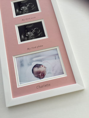 Pink Triple Baby Scan Photo Frame 20 x 8
