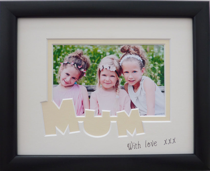 Mum with love - black photo frame