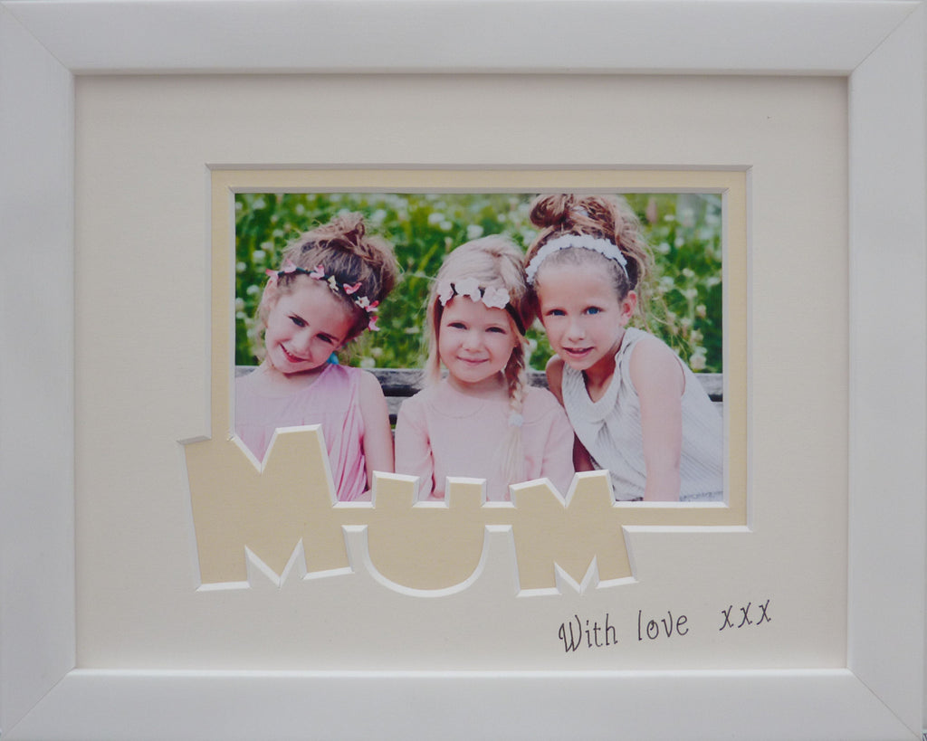 Mum with love - white photo frame