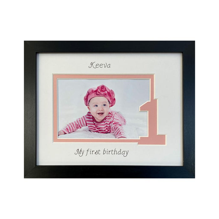Baby Girl My First Birthday Photo Frame 9 x 7 Black