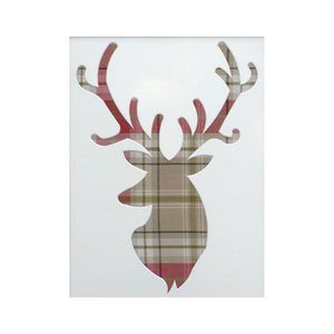 Stag Head Mount with Tartan Fabric 13 x 10 in