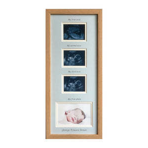 Blue Triple Baby Scan and 1st Photo Frame Beech