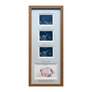 Blue Personalised triple scan baby photo frame 20 x 8 Oak