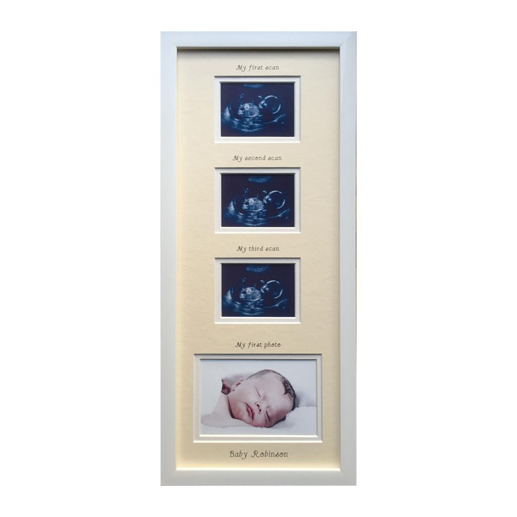 Triple baby scan - cream mount, white frame 20 x 8