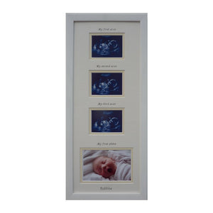Triple baby scan - unisex personalised name photo frame 20 x 8
