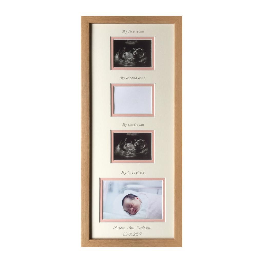 Personalised Triple Baby Girl Baby Scan Photo Frame 20 x 8 Beech ...