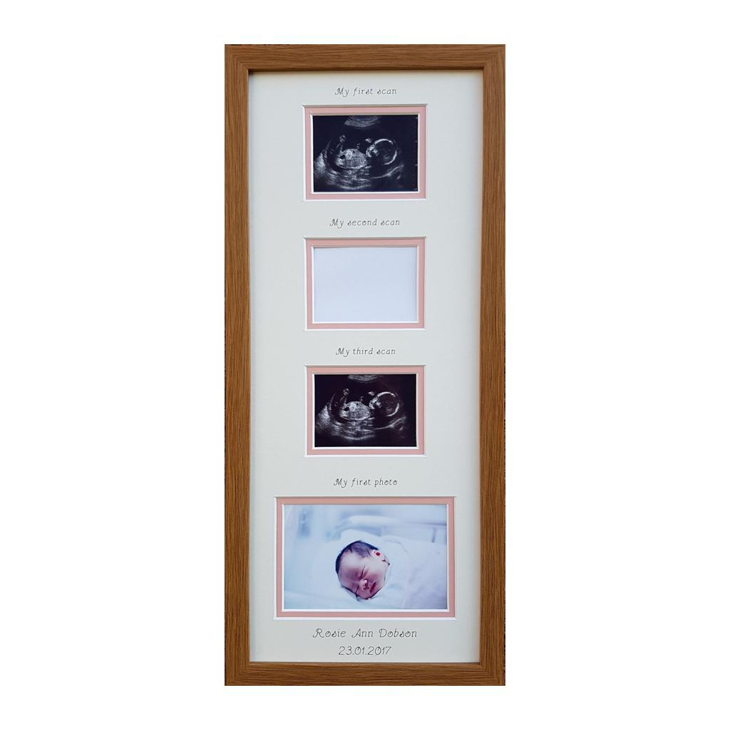Triple Scan Baby Girl Personalised Photo Frame 20 x 8 Oak
