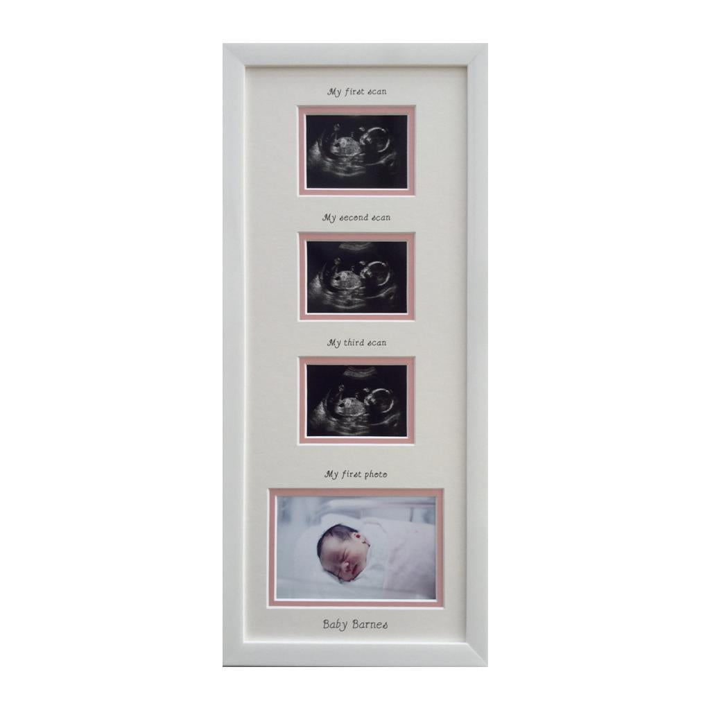 Triple Baby Scan Personalised Girl Photo Frame, Pink inner border 20 x 8, White
