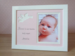 White cherub baby girl memory photo frame