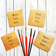 Personalised oak wood coasters