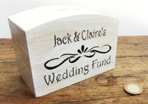 Personalised wooden wedding money box I wedding gift ideas I Make Memento