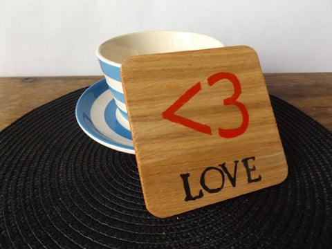 Oak wood love coaster I Romantic handmade gift ideas