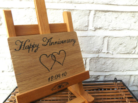 Mr and Mrs wooden anniversary postcard I Romantic handmade gift ideas