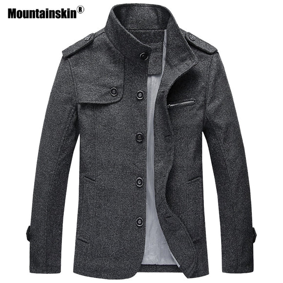 Mountainskin Winter Autumn Men's Wool Jacket Men's Casual Stand Collar Jacket Solid Loose Coat Male Brand Clothing M~4XL SA803