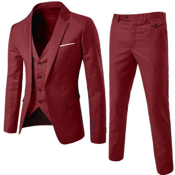 DIHOPE 2020 Men's Fashion Slim Suits Men's Business Casual Groomsman three-piece Suit Blazers Jacket Pants Trousers Vest Sets