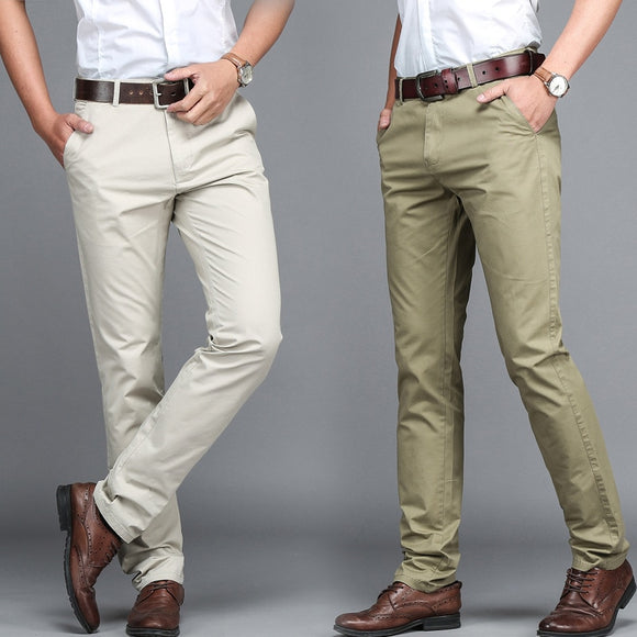 Summer Men's Casual Ting Trousers Fashion Pants Male Brand Solid Color Trousers High Quality