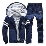 BOLUBAO Sporting Men Winter Track Suits Sets Men's Warm Hooded Sportswear Lined Thick Tracksuit 2PCS Jacket + Pant Set Male