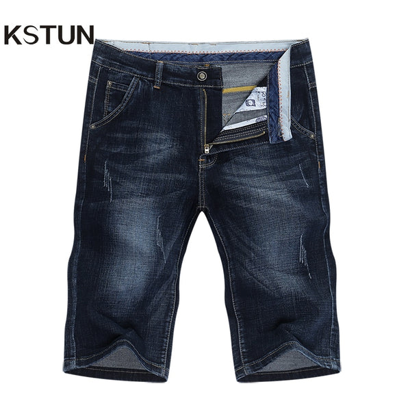 KSTUN Summer Shorts Jeans Men Denim Pants Stretch Dark Blue Fashion Design Men's Jeans Slim Straight Male Short  Jeans Hombre