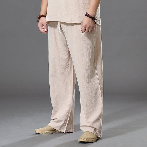 Pants Large Size Summer Men's Cotton Tall Big Sizes Wide Leg Linen Pant Oversized Jogger Trousers Male Plus Size Loose Pants Men