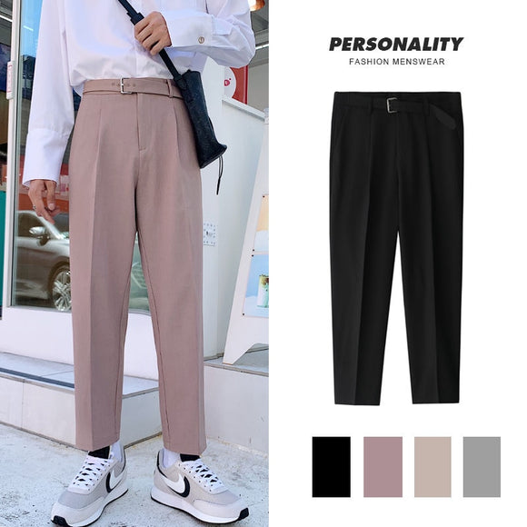 Korean Style Straight Pants Men's Fashion Solid Color Business Casual Dress Pants Men Streetwear Wild Loose Suit Trousers Mens