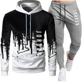 Spring and Autumn Brand Casual Sports Suit Men's Sweater Fashion Letter Printing 2-piece Hoodie Jacket Stitching + Sports Pants
