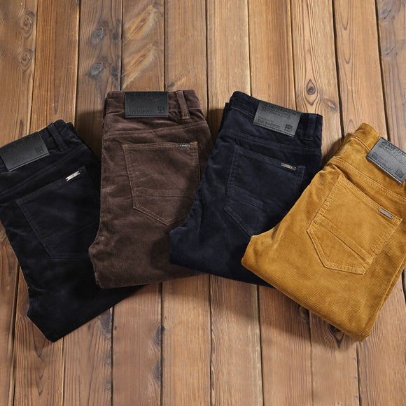 2020 New Autumn Men's Thick Corduroy Stretch Casual Pants Classic Style Khaki Slim Trousers Male Brand Clothes