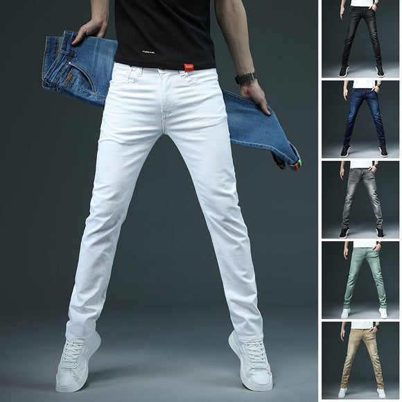 2020 New Men's Skinny White Jeans Fashion Casual Elastic Cotton Slim Denim Pants Male Brand Clothing Black Gray Khaki