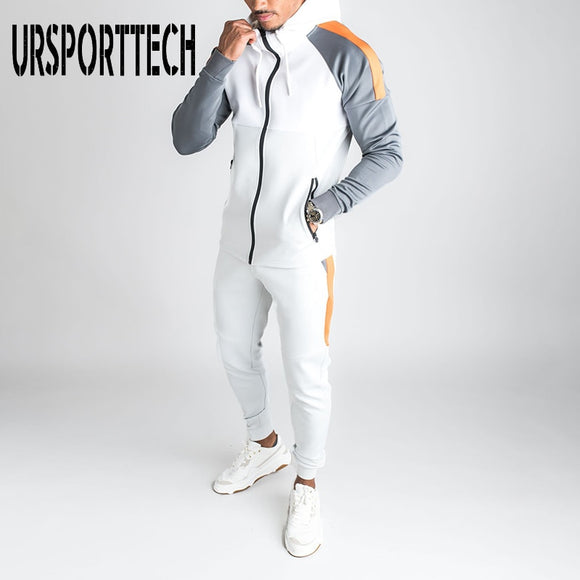 Men Joggers Suit Sets Solid Tracksuit Man Brand Spring Autumn Sport Suit Male Hoodies+ Pants Warm Sportswear Men's Clothing
