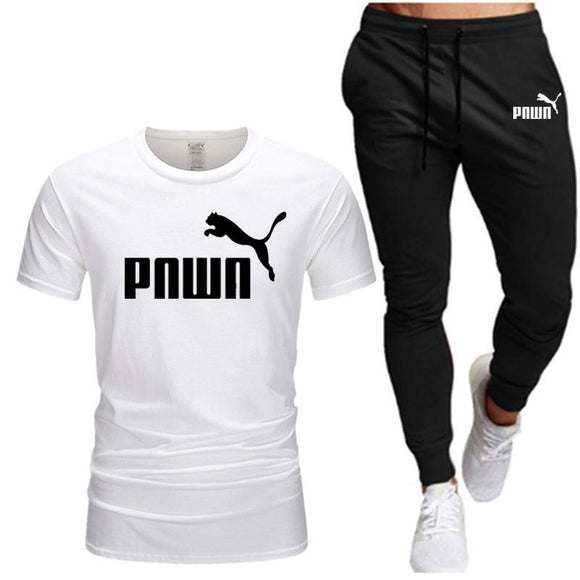 2021 summer new men's suit pumn T-shirt + pants two-piece leisure sports outing fitness men's clothing, size S-XXL