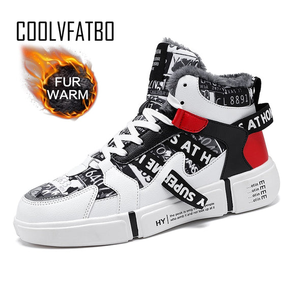 COOLVFATBO Warm Men High-top Leather surface Sneakers Men's and Women Flats Sneakers Keep Warm Cold Protection
