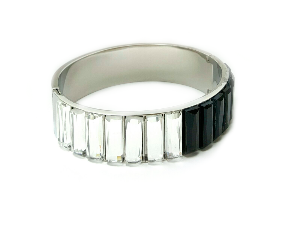 Bangle W/ Black and White Crystals