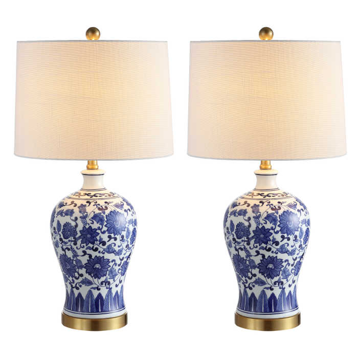 Blue and White Chinoiserie Lamp Set