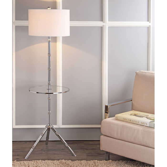 Faux Bamboo Table and Lamp Combination