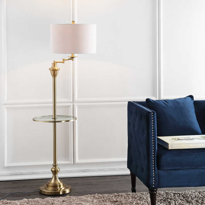 swing Arm Floor Lamp and Table Combination