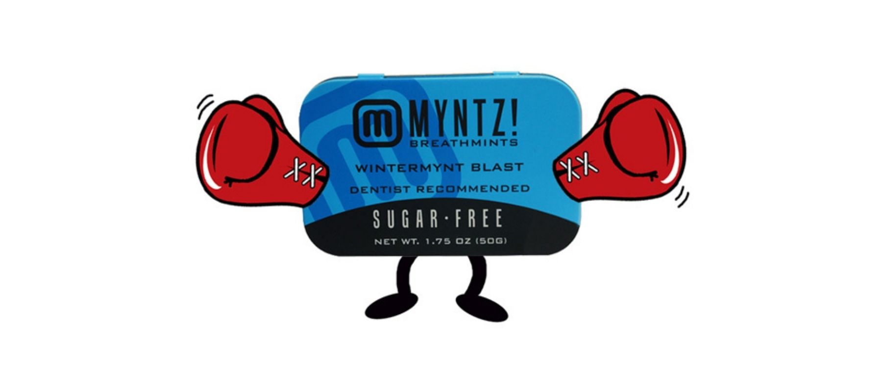 WinterMynt Blast Cartoon Drawing of a tin of mints wearing red boxing gloves