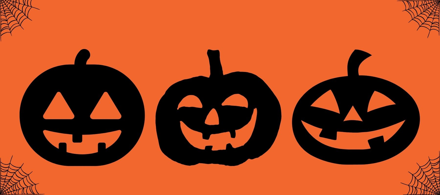 Three Black Jack-o-lanterns in front of a festive orange background