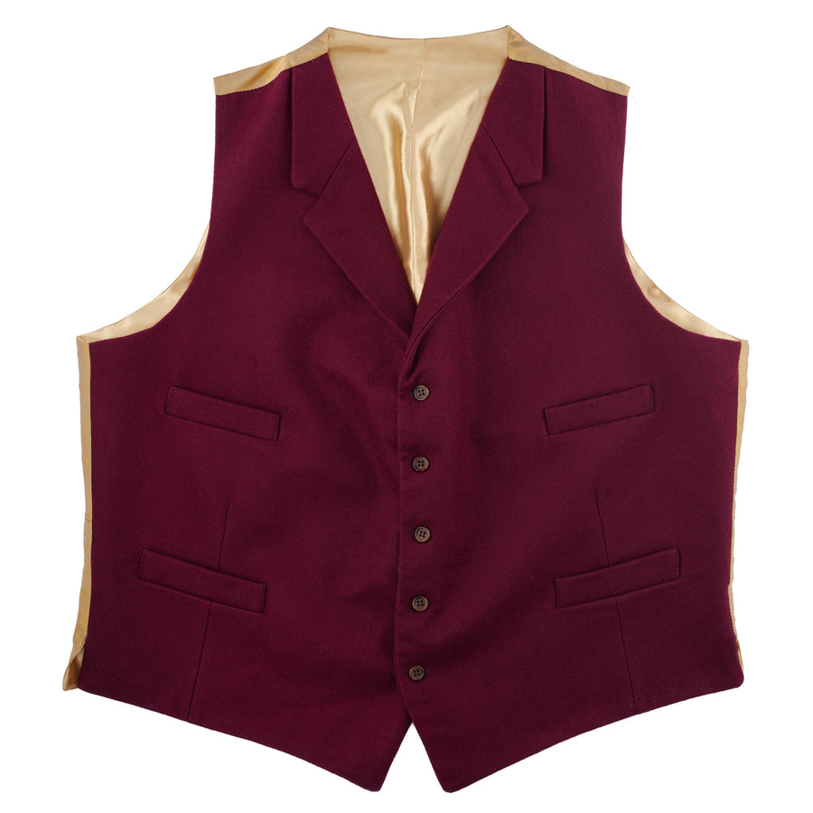 Doeskin Waistcoat With Lapels Burgundy
