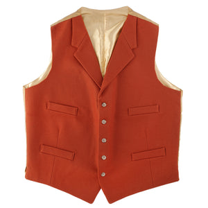 Doeskin Waistcoat With Lapels Deep Orange