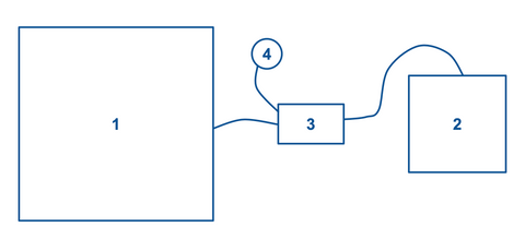 Diagram of electronic hookswitch, headset, and desk phone connection