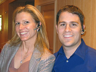 Laura Ries wearing the Plantronics Voyager 510