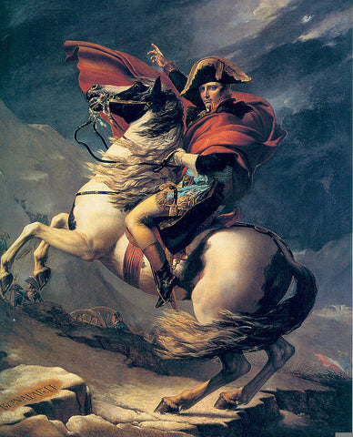 """Jacques-Louis David, Napoleon Crossing the Alps, 1801, oil on canvas, 102.33 x 87"""""""
