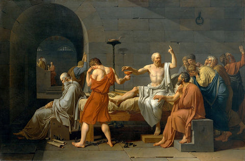 """Jacques-Louis David, The Death of Socrates, 1787, oil on canvas, 51 x 77.2"""""""