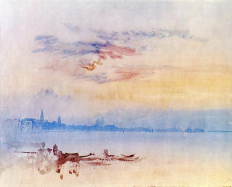 J.M.W. Turner's, Venice Looking East from the Guidecca, Sunrise, 1819 is a classic watercolour